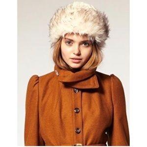 Vintage fur hat winter sears small grey silver
